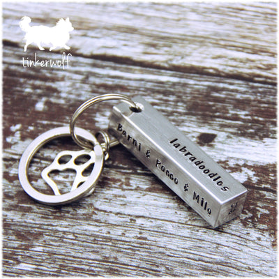 This person belongs to her (breed A to M) ... chunky bar keyring