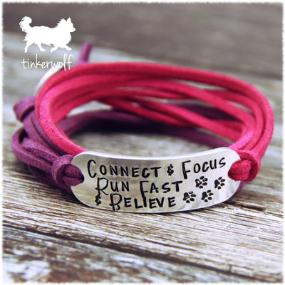 Connect & Focus Run Fast & Believe wrap bracelet