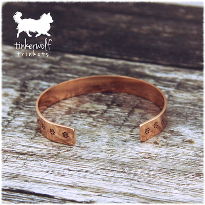My dog looks at me and my heart smiles copper cuff