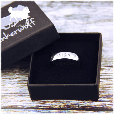 Name and wings stainless steel low dome ring