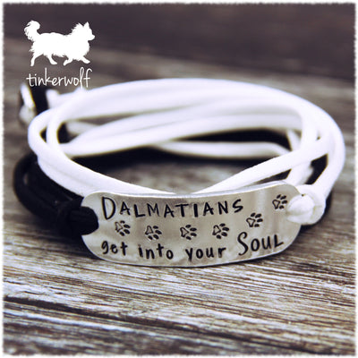 Dalmatians get into your soul rounded bar wrap bracelet