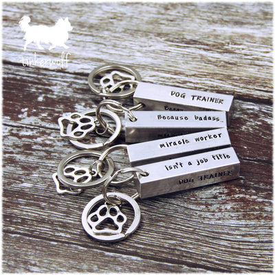 Dog trainer large chunky bar keyring