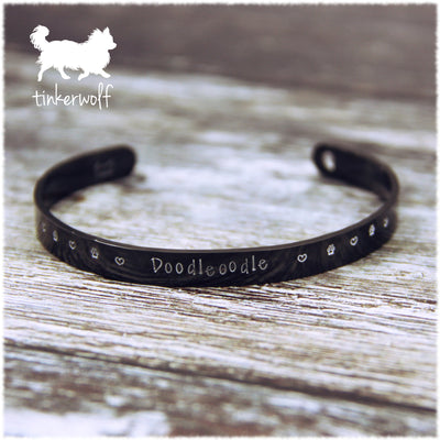 Name and paws black stainless steel cuff