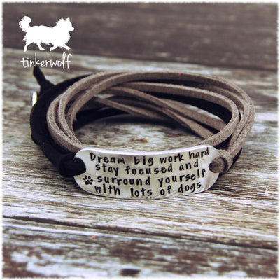 Surround yourself with lots of dogs rounded bar wrap bracelet