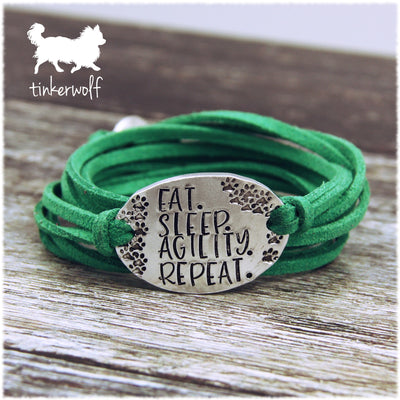 EAT. SLEEP. AGILITY. REPEAT. oval wrap bracelet