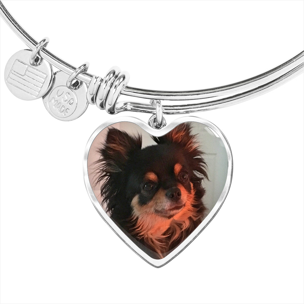 Upload your own photo heart bangle