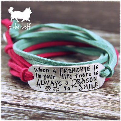 When a frenchie is in your life there is always a reason to smile rounded bar wrap bracelet