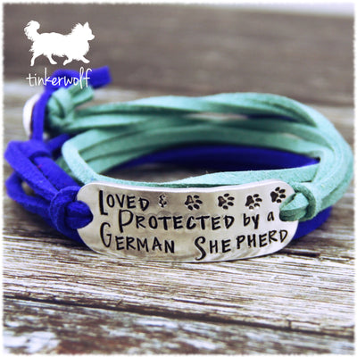 Loved and protected by a german shepherd wrap bracelet