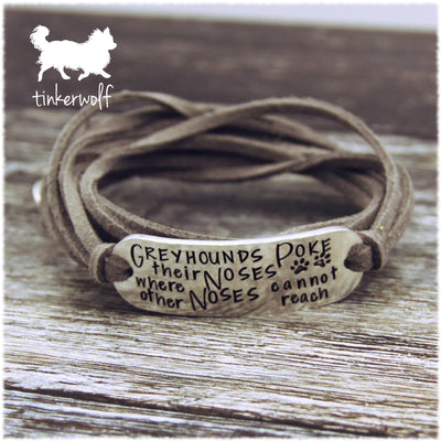 Greyhounds poke their noses rounded bar wrap bracelet