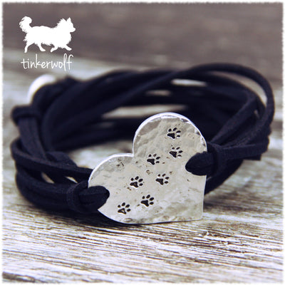 Paw print hammered heart shape wrap bracelet