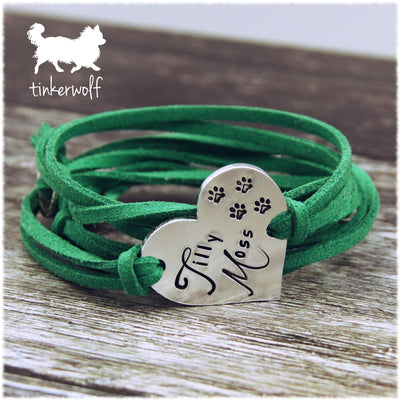 Dog names heart shape wrap bracelet