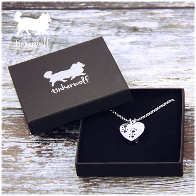 Heart with paw prints urn pendant