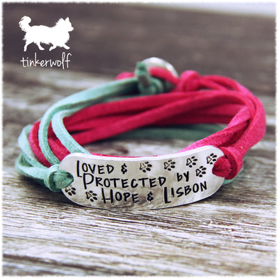 Loved and protected personalised wrap bracelet