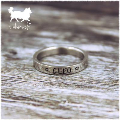 Name and hearts stainless steel flat ring