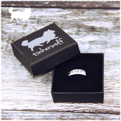 Name and open hearts stainless steel low dome ring