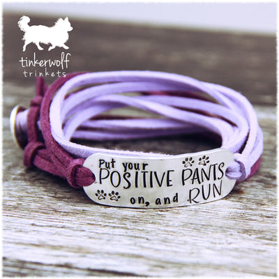 Put on your positive pants rounded bar wrap bracelet