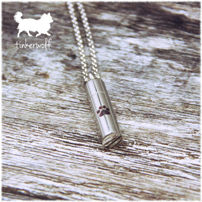 Barrel with paw print urn pendant