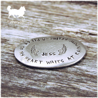 A piece of my heart waits at rainbow bridge pewter memorial stone