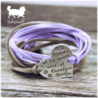 A piece of my heart waits at rainbow bridge heart shape wrap bracelet