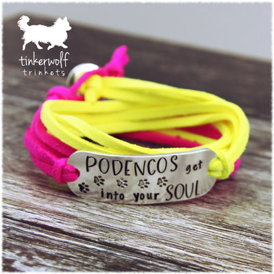Podencos get into your soul rounded bar wrap bracelet