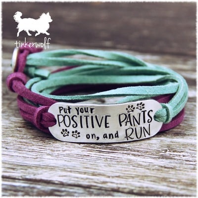 Put your positive pants on rounded bar wrap bracelet