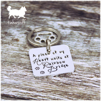 A piece of my heart waits at rainbow bridge keyring