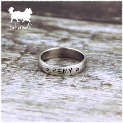 Name and hearts stainless steel low dome ring