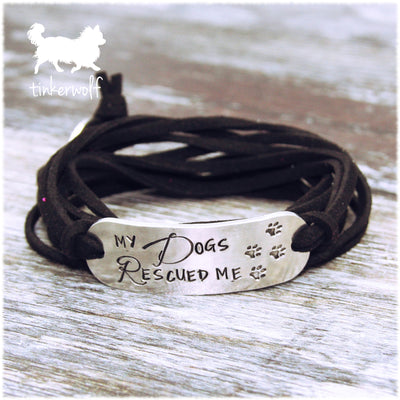 My Dogs Rescued me rounded bar wrap bracelet