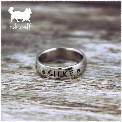 Name and paw prints stainless steel low dome ring