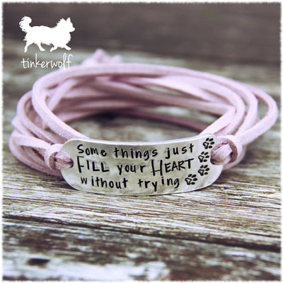 Some things just fill your heart without trying rounded bar wrap bracelet