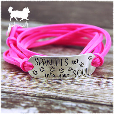 Spaniels get into your soul rounded bar wrap bracelet