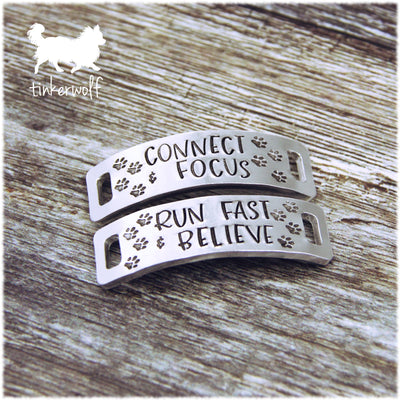 CONNECT & FOCUS RUN FAST & BELIEVE trainer tags
