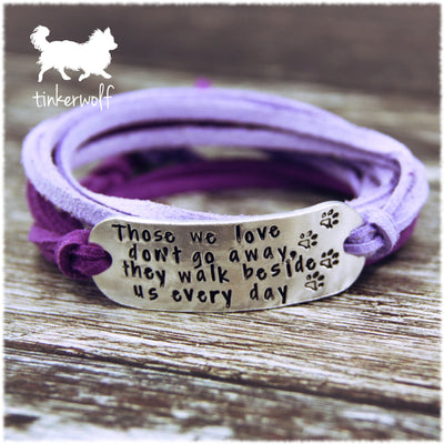 Those we love don't go away rounded bar wrap bracelet