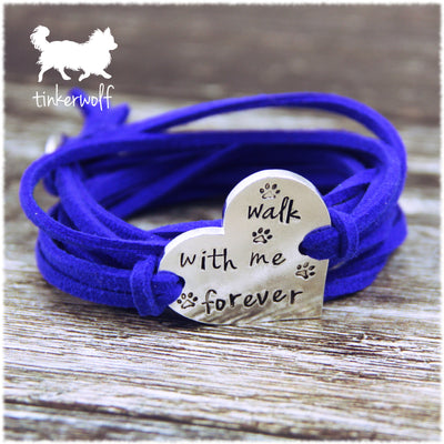 Walk with me forever heart shape wrap bracelet