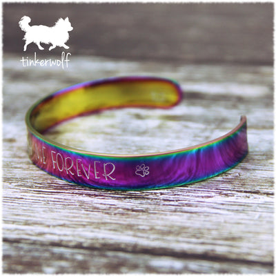 Walk with me forever rainbow stainless steel cuff