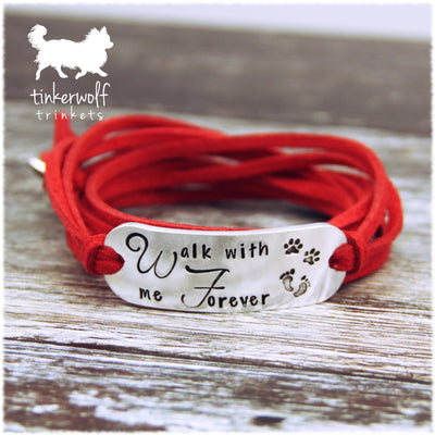 Walk with me forever rounded bar wrap bracelet