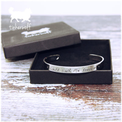Walk with me forever stainless steel cuff