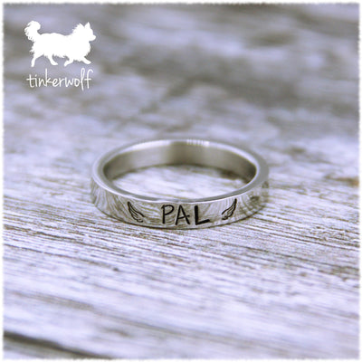 Name and wings stainless steel flat ring