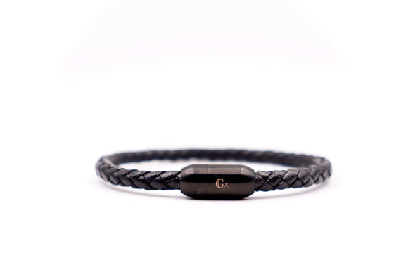 Black Clasp and Leather Bracelet - Cx Handmade