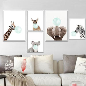 Baby Animal Zebra Girafe Canvas - Sdise