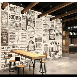 European nostalgic newspaper painting wallpaper