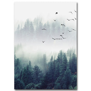 Nordic Decoration Forest Lanscape Wall Art Canvas - Sdise