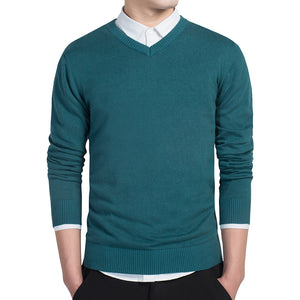Pure color sweater pullovers cotton knitted V neck sweater