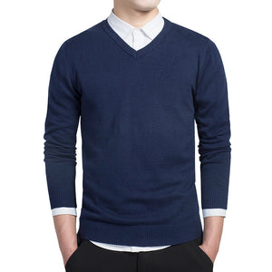 Pure color sweater pullovers cotton knitted V neck sweater - Sdise
