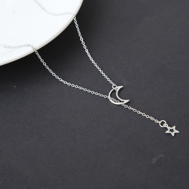 Moon Star Pendant Choker Necklace - Sdise