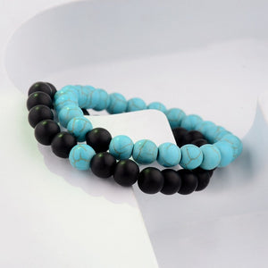 Natural Wood Stone White And Black Bracelets For Men