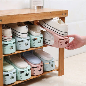 4Pcs Storage Double Shoes Plastic Adjustable Holder - Sdise