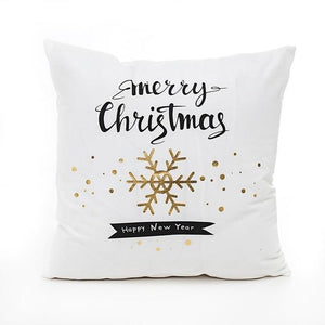 Frigg Merry Christmas Cushion Cover Gold Bedding Pillow Case - Sdise