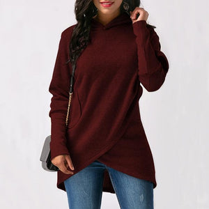 Women Letter Embroidered Pocket Hoodie - Sdise