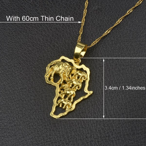 Anniyo Africa Map Pendant Necklace for Men - Sdise